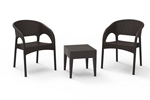 resol set de jardín exterior de 2 sillones y 1 mesa auxiliar Bahia - color chocolate