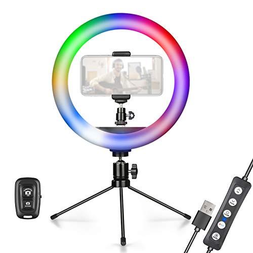 KIBTOY - Anillo de luz RGB 10 pulgadas con soporte para trípode y teléfono transmisión en vivo vídeo YouTube, maquillaje colores regulable fotografía, disparo 3 modos normales 12 efectos
