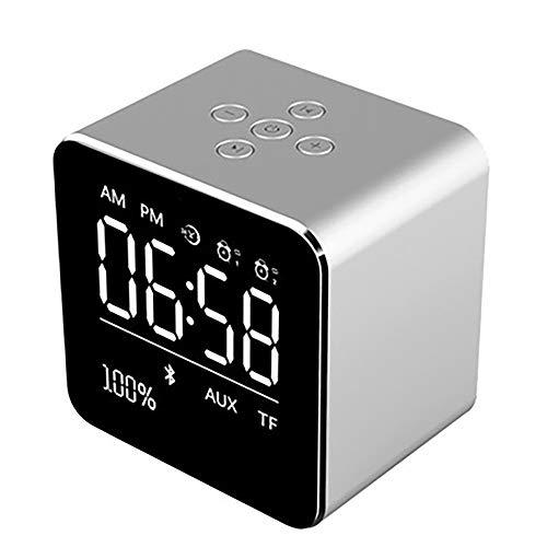 Draadloze klok draadloze Bluetooth-luidspreker mini-kubus draagbare luidspreker met LCD-display stereo-subwoofer met ingebouwde microfoon voor iPhone 6/6S/7 Plus/iPad/iPod Mini zilver