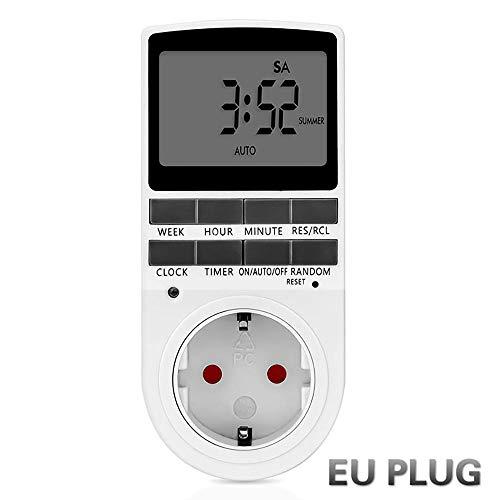 HWHSZ Timer-Steckdose, Programmierbare Digitale Sicherheitsbuchse Mit LCD-Anzeige FüR Beleuchtung, 24 Stunden / 7 Tage Timer-Steckerschalter, Eu/Us/Uk-Stecker, 2-TLG,EU