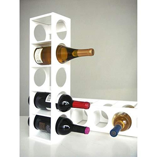 Rutherford - Botellero para vino, viene en juego de dos unidades, cada unidad puede contener 5 botellas, se puede apilar sobre la mesa o poner en la pared.