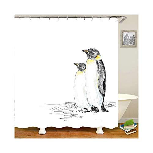 Amody Duschvorhang Durchsichtig Waschbar Pinguin Größe 150x180CM Badewanne Vorhänge Schimmelfrei Vorhänge fürs Bad Weiß