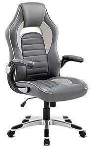 IntimaTe WM Heart Ergonomischer Gaming Stuhl, Hochverstellbarer Computerstuhl, Bürostuhl aus Kunstleder 360 Grad drehbar, Schreibtischstuhl 150kg Belastbarkeit (Grau+Schwarz)