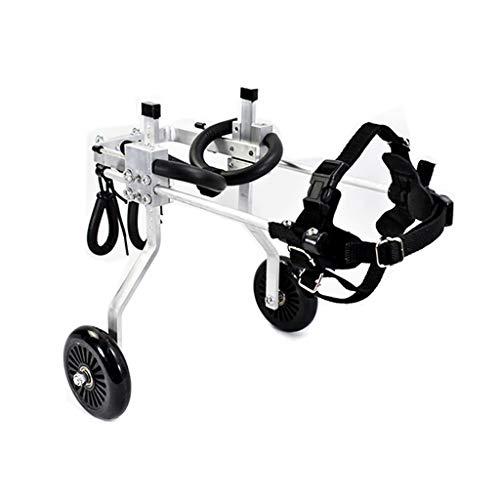 LYN rolstoel, voor honden, vriend – rolstoel, grootte voor kleine honden, in hoogte verstelbare boodschappentrolley van roestvrij staal, achterwaartse richting voor hond en kat, fauteuils, wielen, XXS-2
