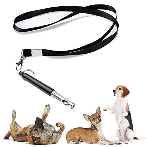 KMNKSCN Dog Whistle to Stop Barking Upgrade Ultrasonic Stainless Steel Dog Whistles Adjustable Pitch Training Tool with Lanyard (Black)