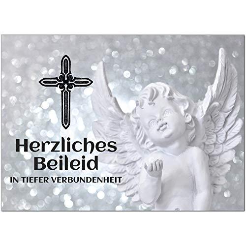 1 x Beileidskarte mit Umschlag/Motiv Herzliches Beileid Engel/Beerdigung, Trauer, Sterbefall, Tod/Anteilnahme/Beileid