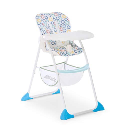 Hauck Sit'n Fold–Kinderhochstuhl ab 6 Monate, mit verstellbarer Rückenlehne und großem Korb / abnehmbares, tiefenverstellbares Essbrett – circles blue (blau grau weiß)