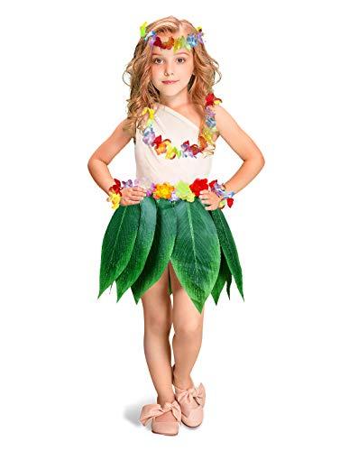 Fortuning's JDS Boys Girls Hawaiian Flowers Leaf Grass Skirts Garland Costume Set Beach Party Favors (5Pcs)