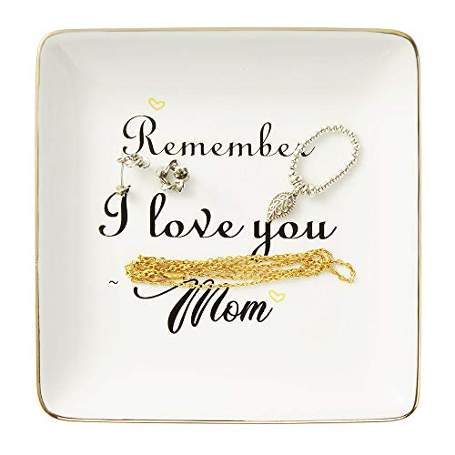 Ceramic Ring Dish, Mother Gift Decorative Trinket Plate - Remember I Love You Mom