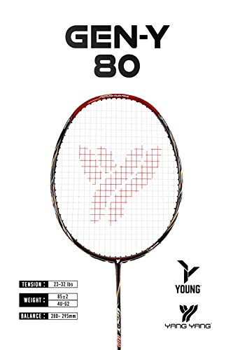 Young Professional Badminton Racket Lightweight High Modulus Graphite Racket Vital Material for StrengthampShock Absorption reducing Muscle Injury w/Carrying Bag PRO: GY 80