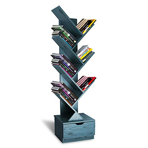 SHEEPAM Tree Bookshelf with Drawers, 8-Tier Floor Standing Bookcase in Living Room/Home/Office Wood Storage Rack Shelves for Books/CDs/Movies/Files/DVDs - Navy Blue
