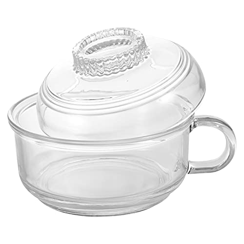 Tomaibaby Glass Noodle Bowl Japanese Soup Bowl Clear Food Bowl with Handle Microwave Safe Ramen Bowl Fruit Salad Cereal Dish Bowl Transparent
