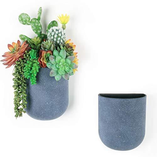 LA JOLIE MUSE Fioriera sospesa a parete Set di 2 - Vasi da fiori moderni con fori per appendere, vasi da giardino verticali per interni, grigio stagionato