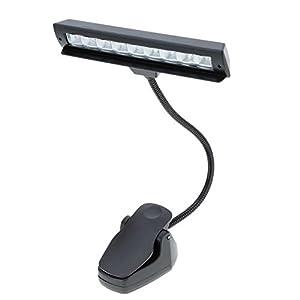 Lixada Lámpara de escritorio Luz de Partitura musical Luces de Leyendo con 9 LEDs para Orquesta Piano Dual estar clips flexible portátil