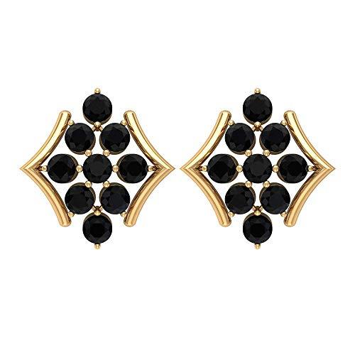 Pendientes de Espinela Negra, Pendientes de Cluster de Oro, Cluster Shuds, Minimal Pendientes para Mujer, 18K Oro amarillo, Par