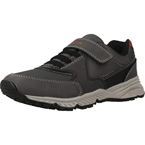 Geox Unisex - Kinder Sneaker Bernie, Jungen,Mädchen Low-Top Sneaker,lose Einlage, Kleinkinder Kinder-Schuhe toben,Anthracite/Black,35 EU / 2.5 UK