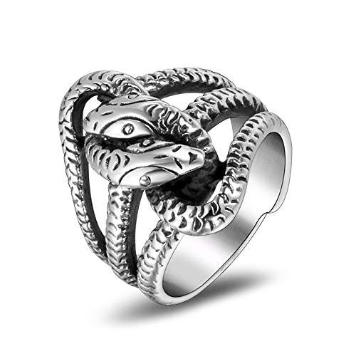 Anillo De Dedo Índice De Acero Titanio Para Hombre Con Serpiente Envolvente Apenada Mei Wai 6