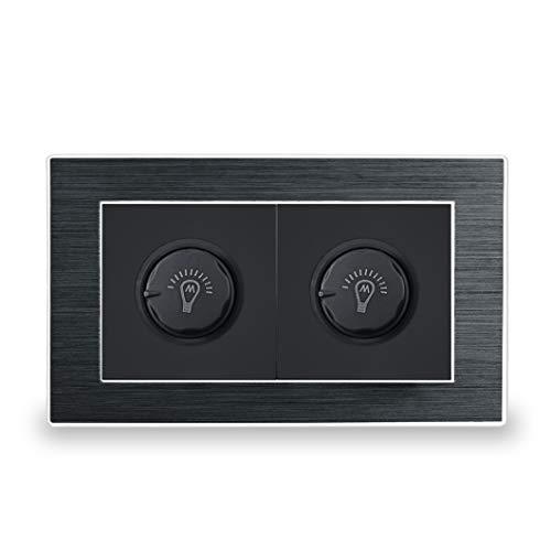 Doble LED Dimmer Dimmer Switch Interruptor de luz de pared de lujo Panel de metal satinado con borde plateado 146 * 86Mm Black LED Dimmer