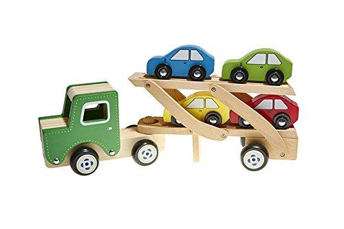 Juguetutto - Camión Transporta coches - VERDE - Juguete de madera