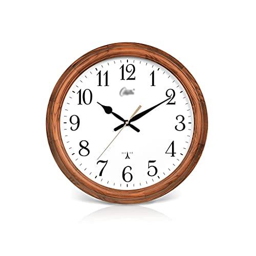 3190 Creativo Reloj de Pared, silencioso y sin Sonido de ticipo, marrón Redondo de 16 Pulgadas, Estilo Chino Simple, Alimentado por batería, Adecuado para la Oficina en casa Regalo