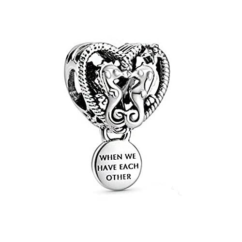 pandora 925 plata esterlina DIY colgante joyería calado caballitos de mar corazón encantos granos ajuste pulseras joyería femenina