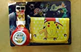 LIJIA Reloj Pokemon Pokemon Pikachu Prize Pokemon Watch Wallet Set Reloj de proyección Pokémon para niños