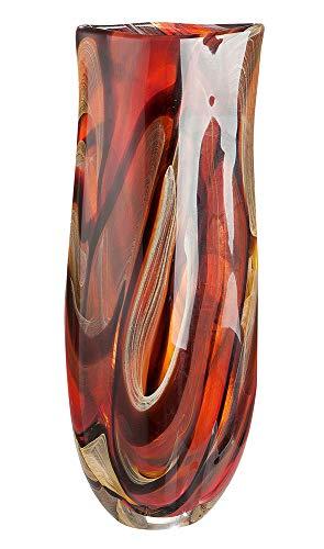 GILDE Glass Art 39472 - Vaso Colato in Vetro soffiato e colorato, Altezza 46 cm, Larghezza 18 cm, profondità 10 cm, Colore: Rosso/Arancione/Nero