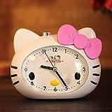 hznzh Despertador De La Luz De La Noche Hello Kitty Super Mute Led Luz Nocturna Niña Estudiante Lindo De Dibujos Animados Pequeño Reloj De Alarma E