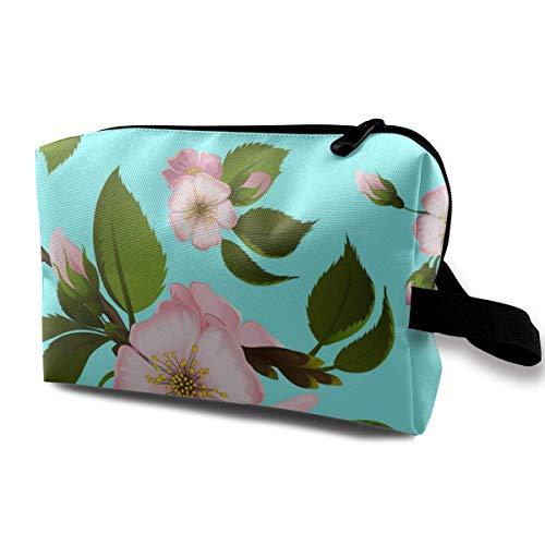Trousse de Toilette pour Femme Fleurs d'arbre Multifonction avec Fermeture éclair