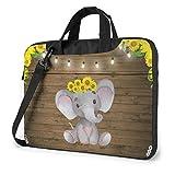 Sunflower Elephant Wooden Floor Laptop Bag, Shoulder Shockproof Laptop Bag, Computer Carrying Briefcase