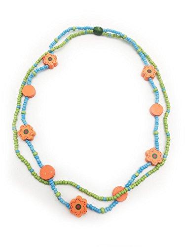 Yakadi - Elegante set con collana e braccialetto con perline per bambine e Base, colore: green, cod. 2017-A