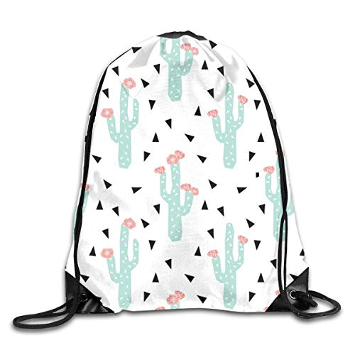 show best Cactus Flowers Cute Girly Cactus with Peach Pink Flowers Drawstring Gym Bag for Women and Men Polyester Gym Sack String Backpack for Sport Workout, School, Travel, Books 14.17 X 16.9 inch