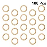 Healifty - Lote de 200 anillos de madera maciza, diseño de círculo sin acabado para hacer bolsos de mano, conectores para fabricación de joyas, 15 mm 30mm 100PCS amarillo claro