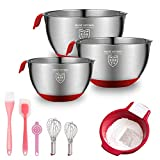 M Kitchen Baking Supplies Stainless Steel Mixing Bowls with Handheld and Silicone Bottom, Flour Sifter, Strainer, Pastry Brush, Whisk 9 Pcs, Baking Tools for Kids Beginner Adults Baking Sets