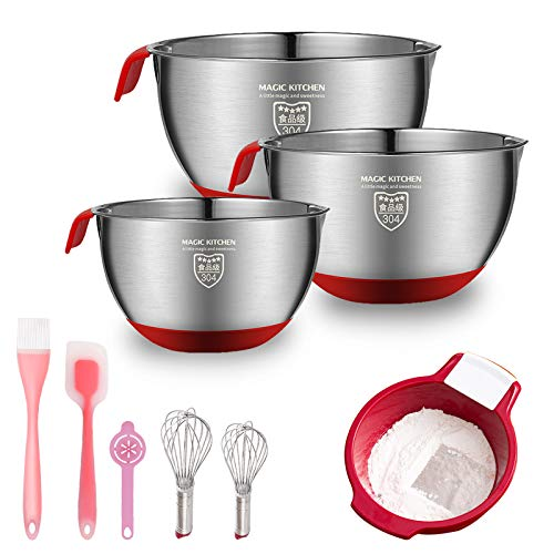 M Kitchen Baking Supplies Stainless Steel Mixing Bowls with Handheld and Silicone Bottom Flour Sifter Strainer Pastry Brush Whisk 9 Pcs Baking Tools for Kids Beginner Adults Baking Sets