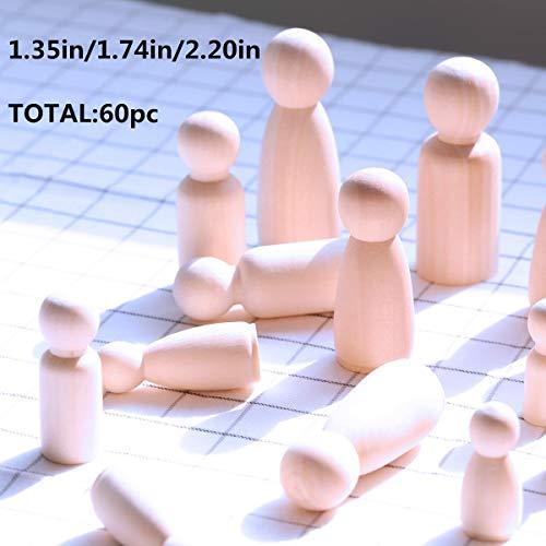 60 piezas de la familia de clavija de madera maciza de madera dura de la muñeca Naturales Cuentas de madera inacabados Torneaduras-lista para la pintura Waldorf bebé Teether Juguetes