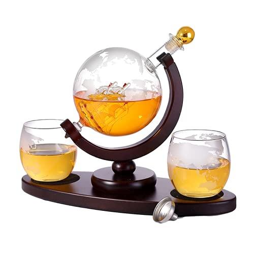 iconxc Juego de 2 vasos de whisky con forma de globo y forma de globo para whisky con 2 copas de whisky ovaladas, bandeja de madera maciza, excelente regalo para hombre