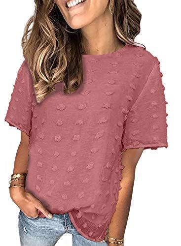 FOBEXISS Blusas de verano con cuello redondo y lunares suizos de color sólido elegantes blusas sueltas