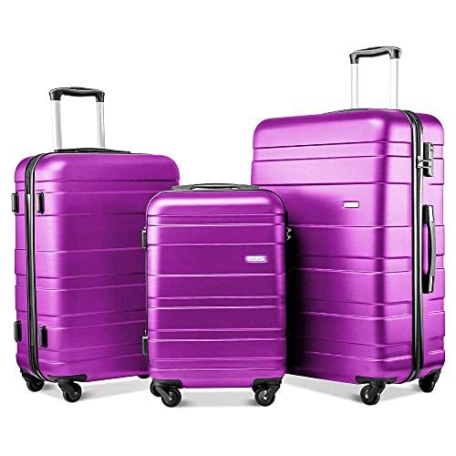 Takefuns Juego de 3 maletas de viaje de 4 ruedas de peso ligero Hardshell Maleta Set Holdall Case-20/24/28' (Púrpura)