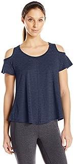 Calvin Klein Women's Distreshortsleeve Wash Cold Shoulder Tee with Back Pleat
