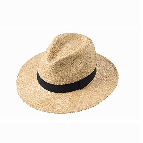 WangQ Gorro de Sol/Hombre de Mediana Edad de ala Ancha/Transpirable/Protector Solar/UV/Sombrero de Paja Suave, Viajes de Verano al Aire Libre/Ocio/Sombrero de Paja agrícola (2 Colores) S