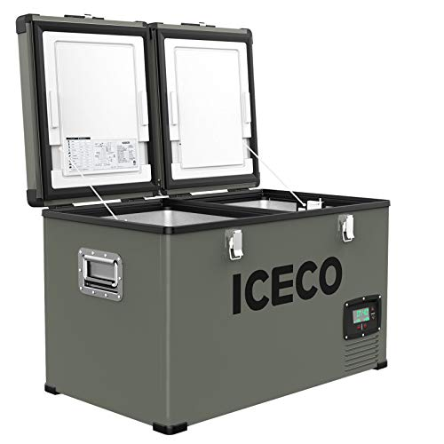 ICECO VL60 Dual Zone Portable Refrigerator with SECOP Compressor, 60 Liters Platinum Compact...