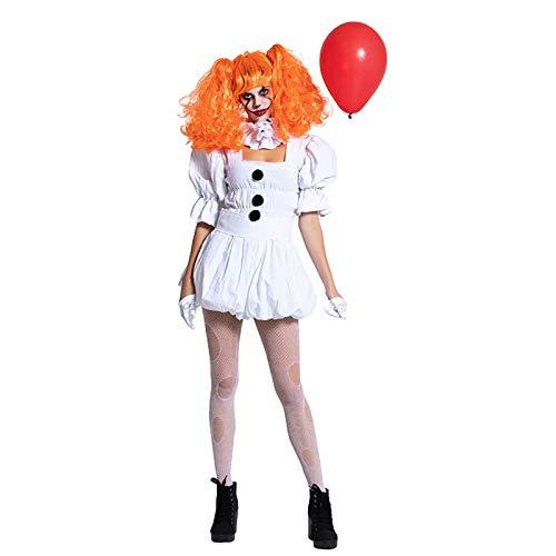 LISI Stephen King'S It Cosplay Disfraz Adulto Pennywise Traje Payaso White Mujeres Terror Sexy Asesino Outfit para Halloween,Blanco,L