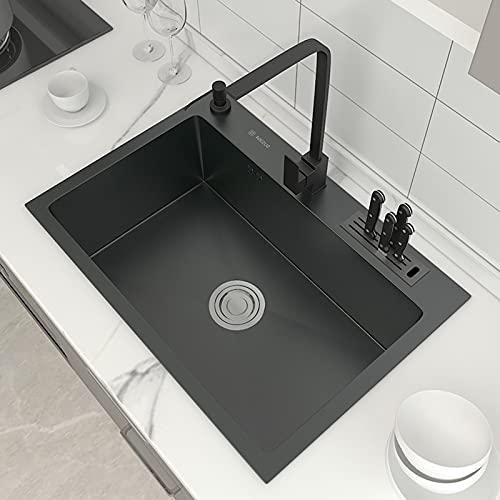 QHW Fregadero de Cocina para el hogar, Fregadero para Lavado de Manos de Nano baño Negro, fregadora de Acero...