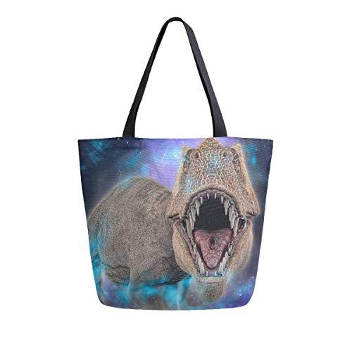 3D T-Rex Dinosaurier Galaxy Sternenhimmel Leinwand Tote Tasche für Frauen Reise Arbeit Einkaufen Lebensmittel Top Griff Geldbörsen Große Taschen Wiederverwendbare Handtaschen Baumwolle Schultertaschen