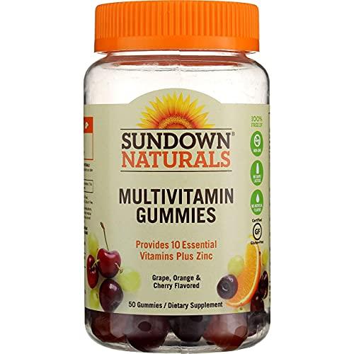 Sundown Naturals Adult Multivitamin with Vitamin D3 Gummies Orange, Cherry and Grape Flavored - 50 ct