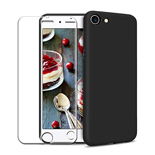 Funda iPhone 7/ iPhone 8 + Protector de Pantalla de Vidrio Templado, Carcasa Ultra Fino Suave Flexible Silicona Colores del Caramelo Protectora Caso Anti-rasguños Back Case - Negro