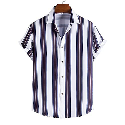 SSBZYES Camisas para Hombre Camisas De Verano De Manga Corta Camisas a Rayas Tops para Hombre Camisetas Talla...