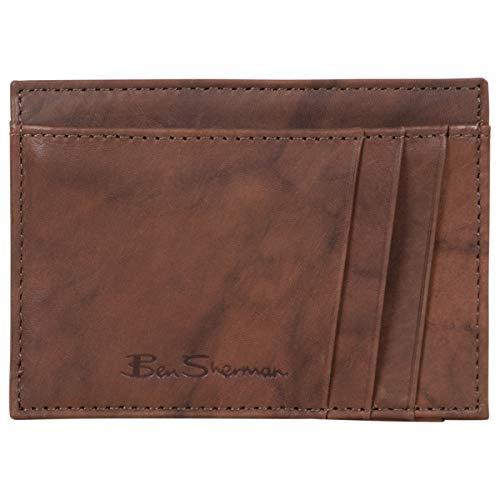 Ben Sherman Men's Slimfold Full-Grain Anti-Theft RFID Security ID Window, Brown Leather, Front Pocket Wallet