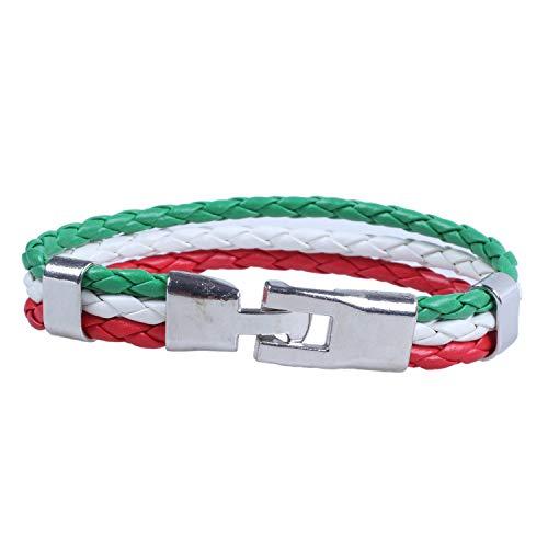 ACAMPTAR Pulsera de joyeria, Brazalete de Bandera Italiana, de aleacion de Cuero, para Hombres Mujeres, Verde Blanco Rojo, (Anchura 14 mm, Longitud 21,5 cm)